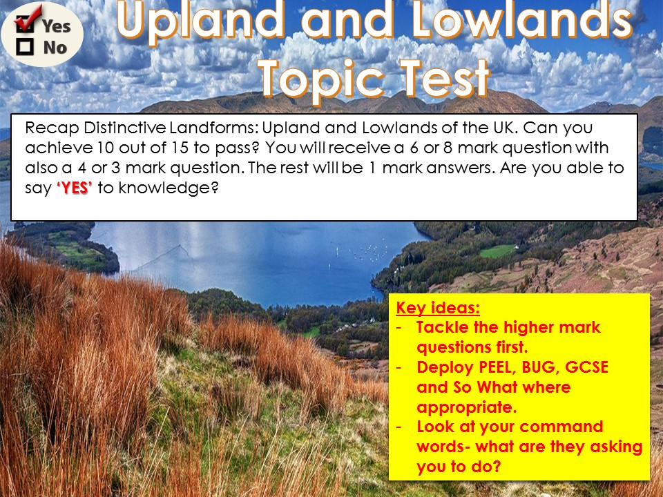 OCR B Topic Tests 1) Upland and Lowlands WITH ANSWERS