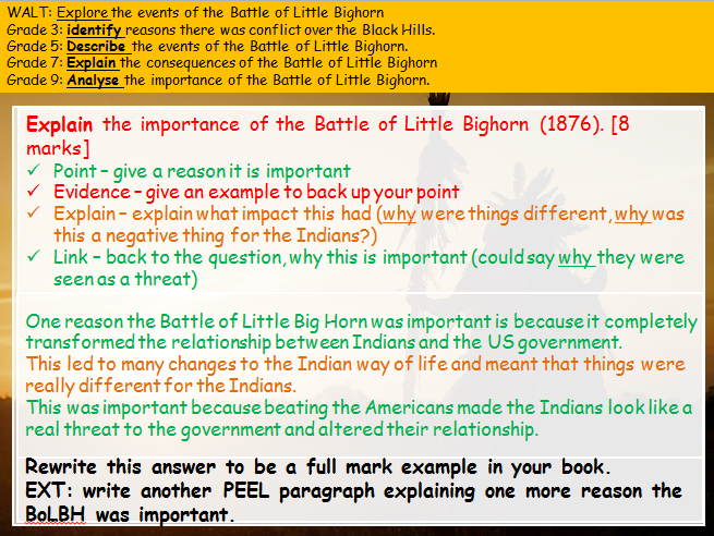 Battle of Little Bighorn; causes, conduct, consequences (American West (Edexcel history 9-1))