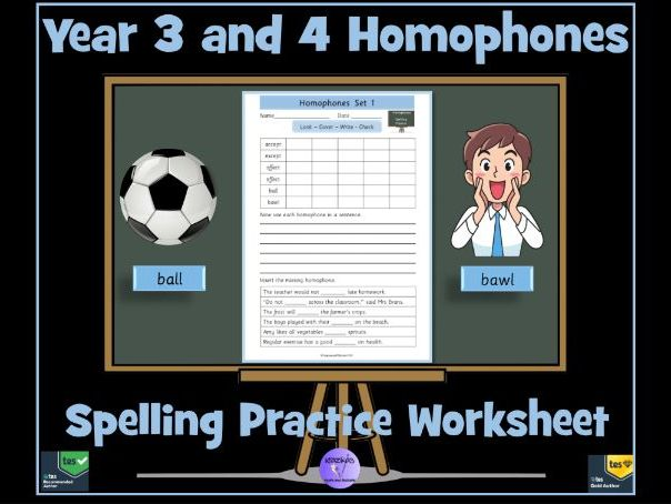 Year 3 and 4 Homophones: Spelling Practice Worksheet