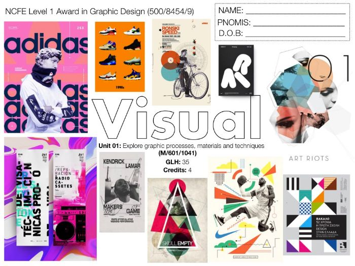 NCFE L1 Graphic Design UNIT 01 SCHEME OF WORK
