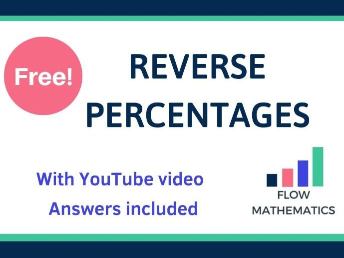 Reverse Percentages Worksheet - With YouTube Video