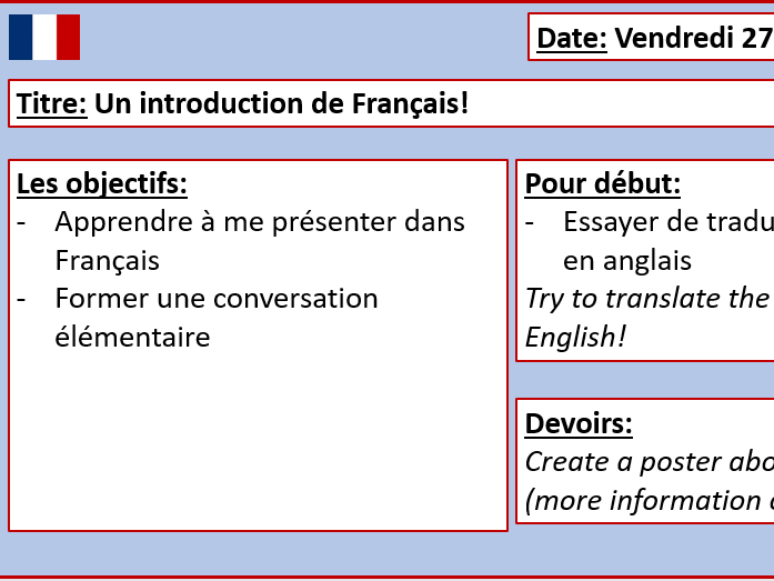 French Introduction Lesson - Includes tasks!