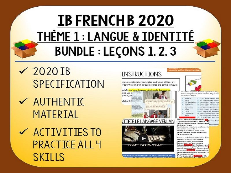 IB FRENCH B 2020 - Langue & Identité - 3 lessons pack