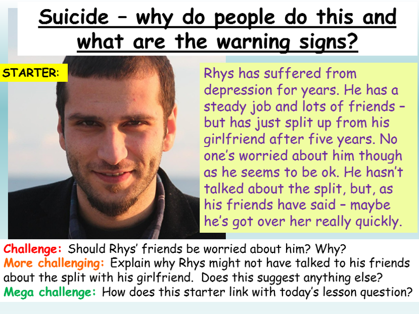 Suicide - Mental Health PSHE