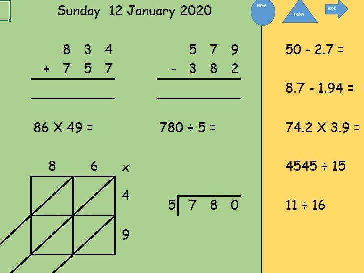 Arithmetic starter