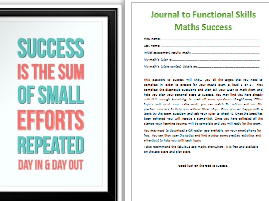 Journal to Functional Skills Maths L2 Success Revision or Homework