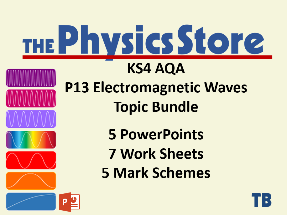 KS4 GCSE Physics AQA P13 Electromagnetic Waves Topic - 5 PPTs, 7 WS and 5 MS Bundle