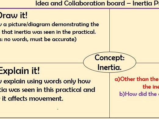 Inertia. Newtons 1st law. Lesson with resources, model answers and assessment.