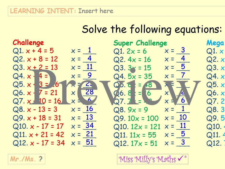Linear Equations: Worksheet & PowerPoint