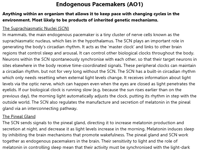 Pacemakers and Zeitgebers Revision (A2 Psychology)