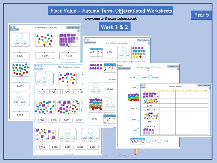 Year 5- Week 1 & 2 Place Value Differentiated Worksheets- White Rose Style