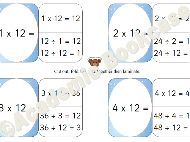 12 times table self check flashcards with inverse on the back