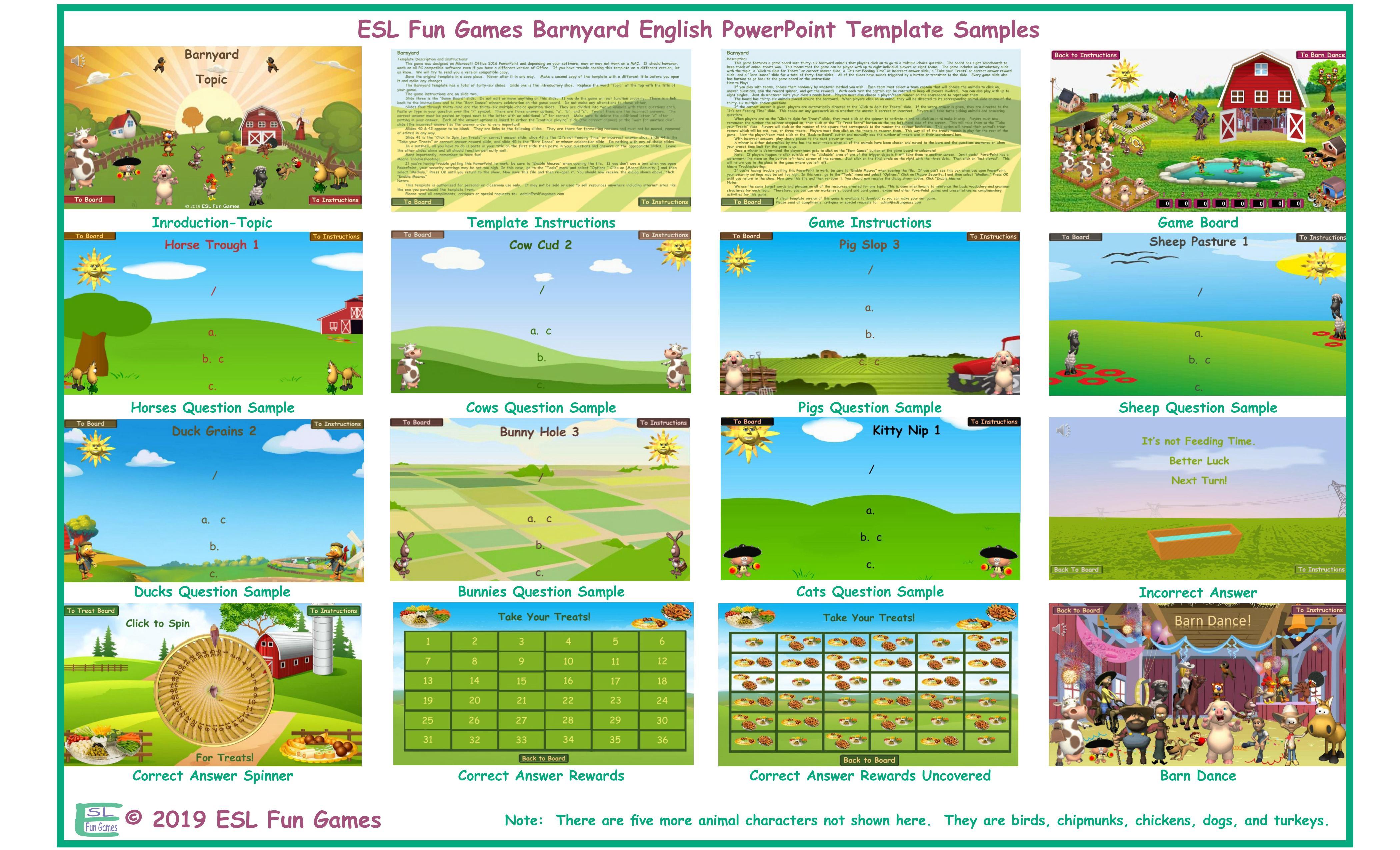Barnyard English Powerpoint Game Template An Original By Esl Fun Games