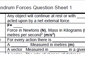 AQA GCSE Physics Forces Key Points Learning sheet and 3 tests or worksheets GCSE or Level 1 Physics