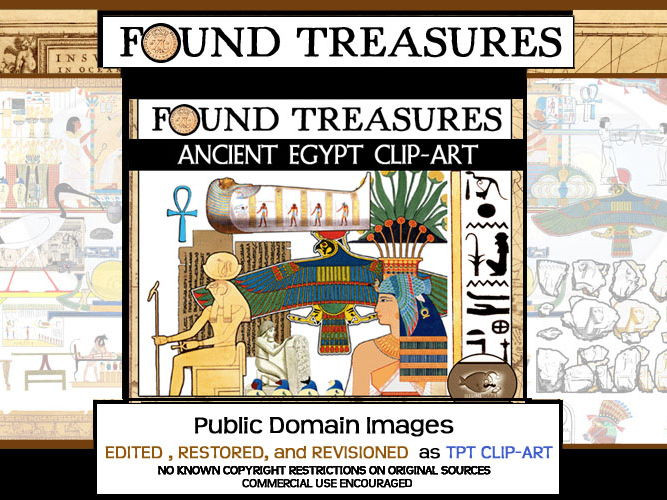 Found Treasures: Ancient Egypt ClipArt-50 Pieces!Restored Public Domain Images.