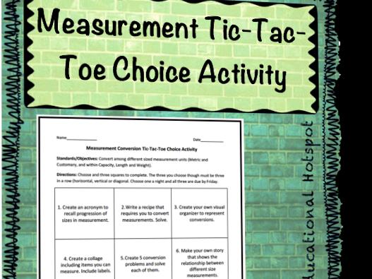 Measurement Conversion Tic-Tac-Toe Choice Activity