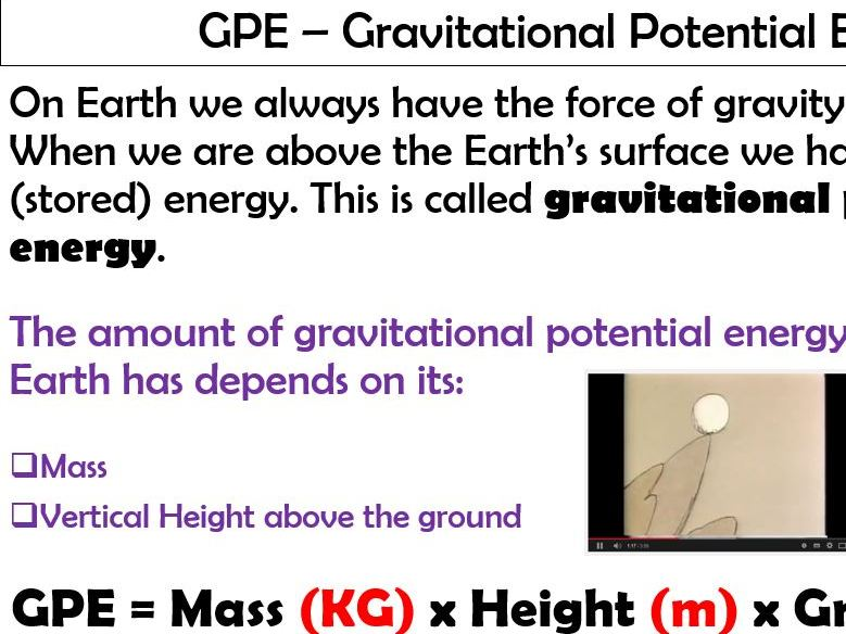 (GPE) Gravitational Potential Energy Lesson. Differentiated with assessment points. Has Answers.