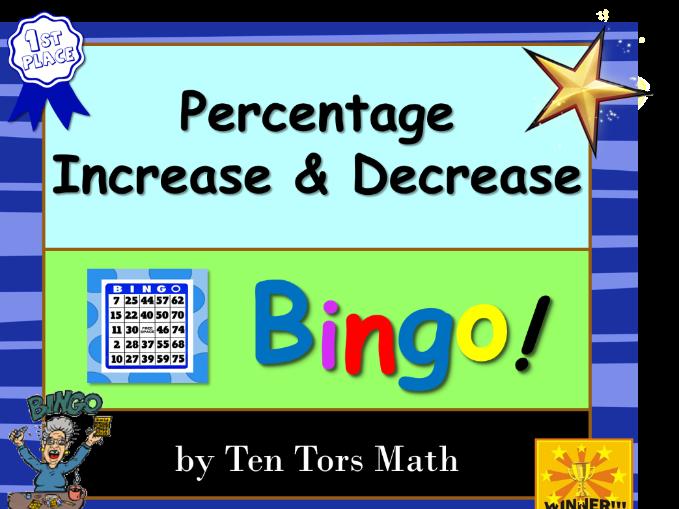 Percentage Increase Decrease bingo! game