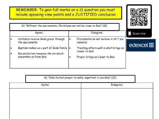 GCSE Religious Studies: Catholic Christianity exam question practice