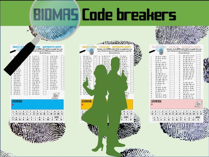 BIDMAS code breaker worksheets