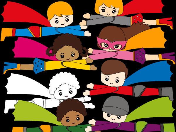 Flying Happy Superhero clip art - Multi racial boys and girls clipart