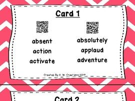 Underline the Syllables QR Code Task Cards Sets 1 to 2