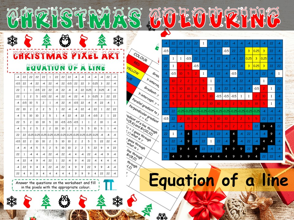 Christmas maths GCSE revision on the equation of a line