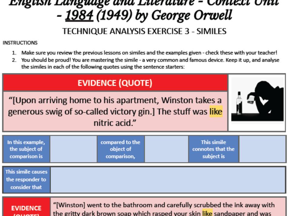 IBDP HSC AP English Language Literature Context 1984 Orwell TECHNIQUE ANALYSIS 3 SIMILES FREE