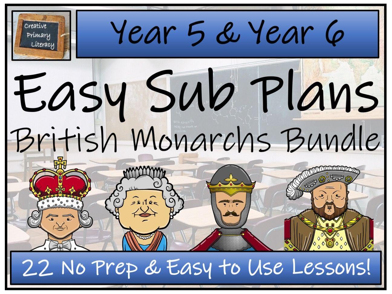 UKS2 Emergency Substitution Plans | Kings & Queens Bundle