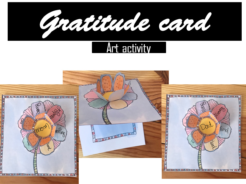 Gratitude flower card coloring page