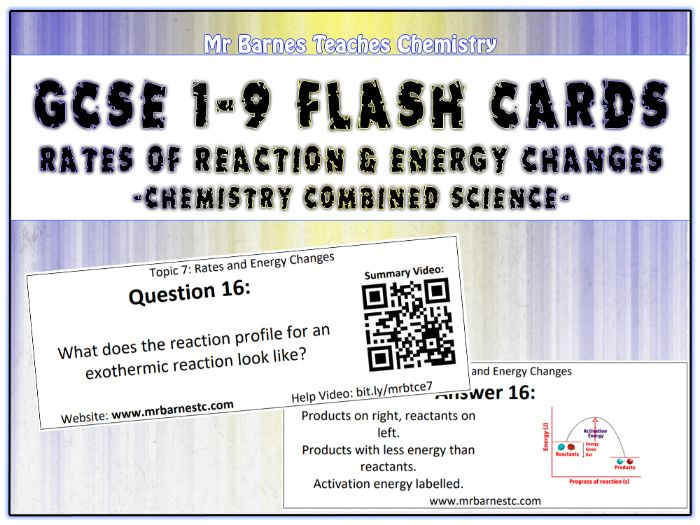 GCSE Chemistry Flash Cards - Rates of Reaction and Energy Changes