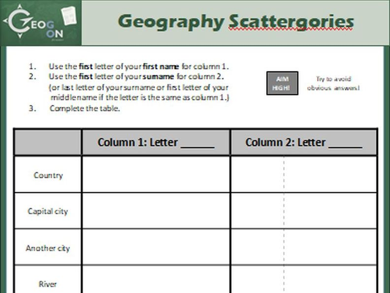 Geography Scattergories