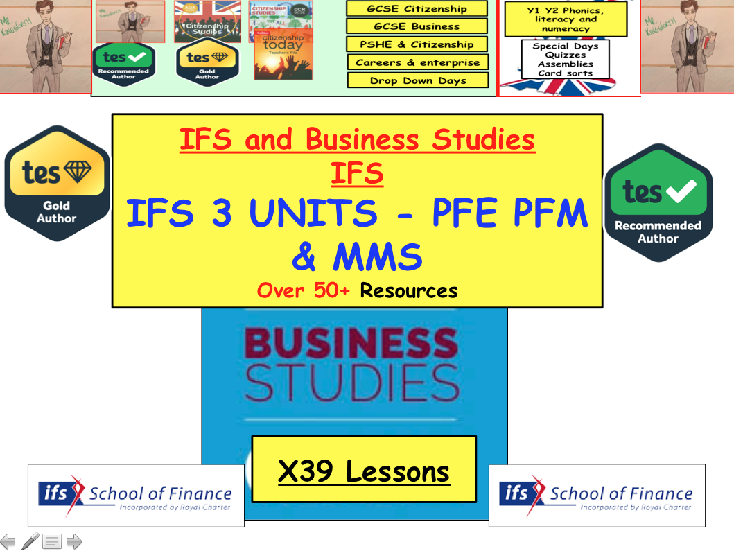 x39 lessons and a banking quiz with all resources to support the delivery of the IFS Qualification Business