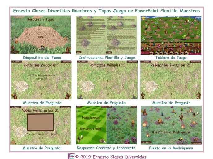 Rodents and Moles Spanish PowerPoint Game Template READ ONLY SHOW