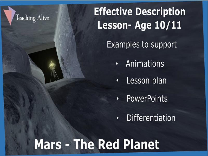 Age 10/11 Effective Description Lesson- Animations & PowerPoints