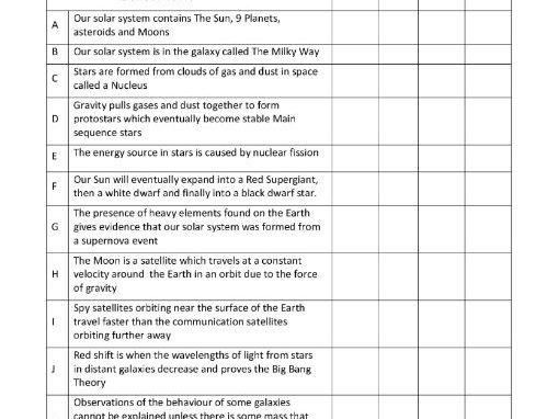 AQA GCSE Physics Revision Grid Space