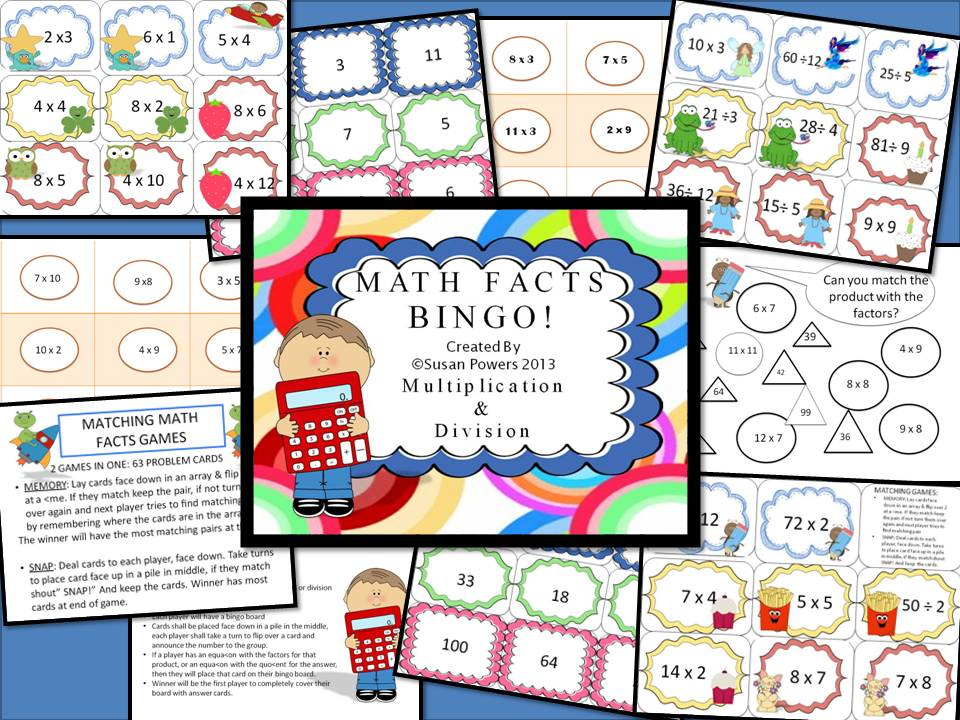 Math Facts Bingo Centres Activity Multiplication & Division