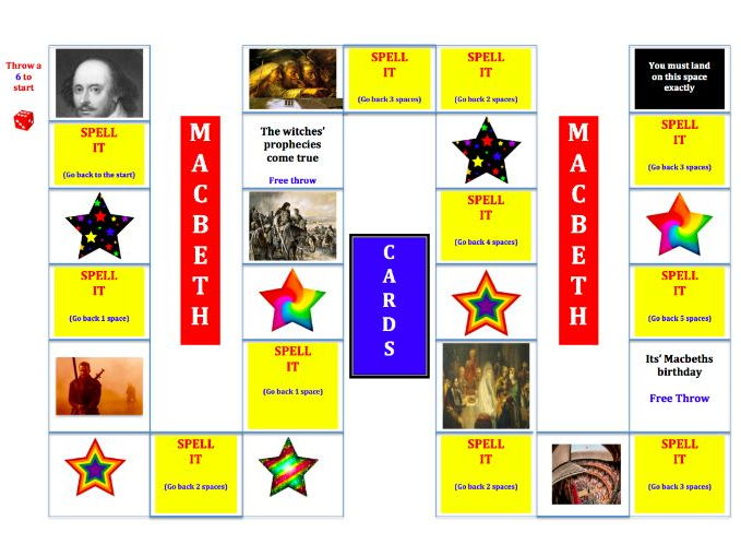 Macbeth Spelling Board Game and Literacy Puzzles