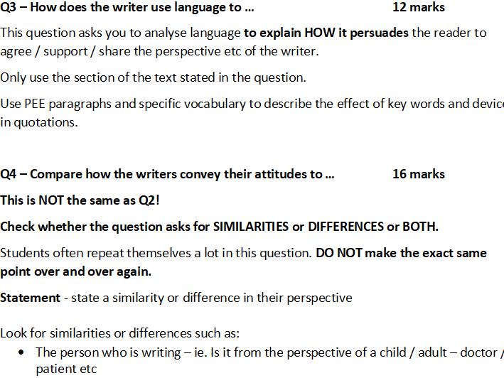 AQA GCSE Language Paper 2 Last Minute Advice