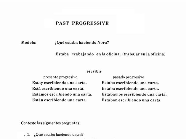Spanish 3 - Past Progressive - Worksheet