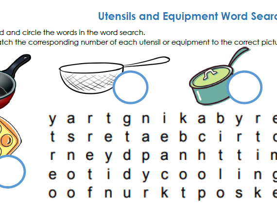 Utensil and Equipment Word Search
