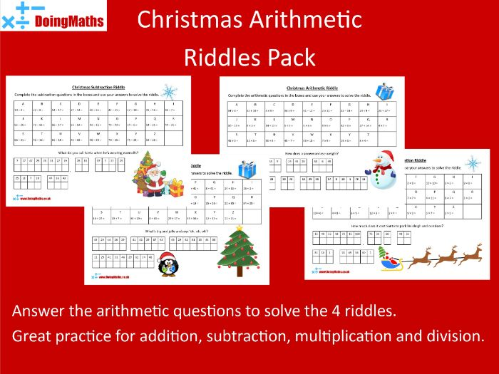 Christmas Arithmetic Riddles  - Xmas themed number practice
