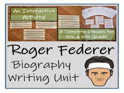 UKS2 Literacy - Roger Federer Biography Writing Unit