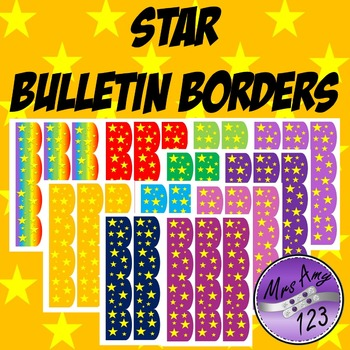 Star Bulletin Borders- Rainbow, Red, Orange, Blue, Green, Purple, Pink
