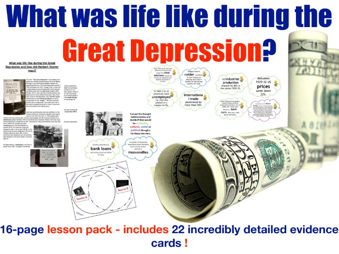 Life during the Depression - 16 page lesson pack