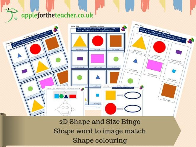 2D shape and size bingo and other activities KS1 EYFS SEN