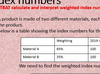 Index numbers - weighted index - GCSE statistics