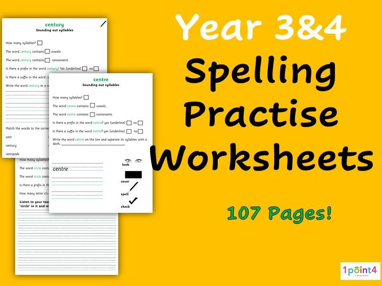 Year 3 and 4 Spelling Worksheets (Statutory Words)
