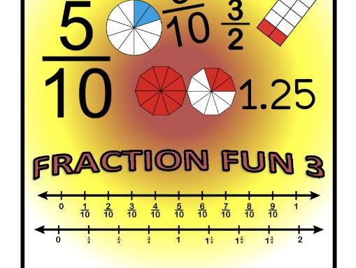 FRACTION FUN 3 - Free SAMPLE of WORKBOOK - Fractions and Decimals