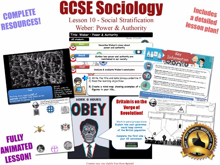 Power & Authority (I) - Social Stratification -L10/20 [ WJEC EDUQAS GCSE Sociology ] WEBER